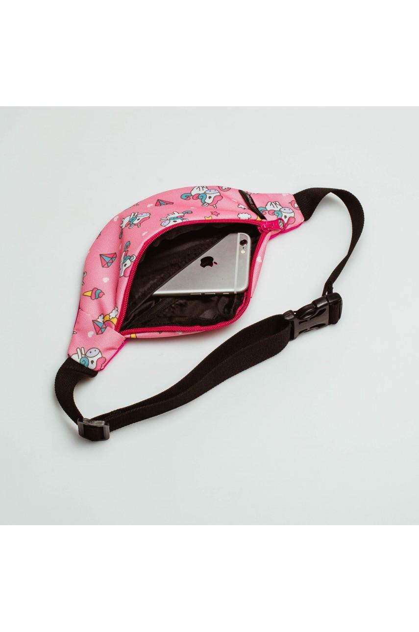 Дитяча сумка на пояс Twins Store - з єдинорогами рожева
