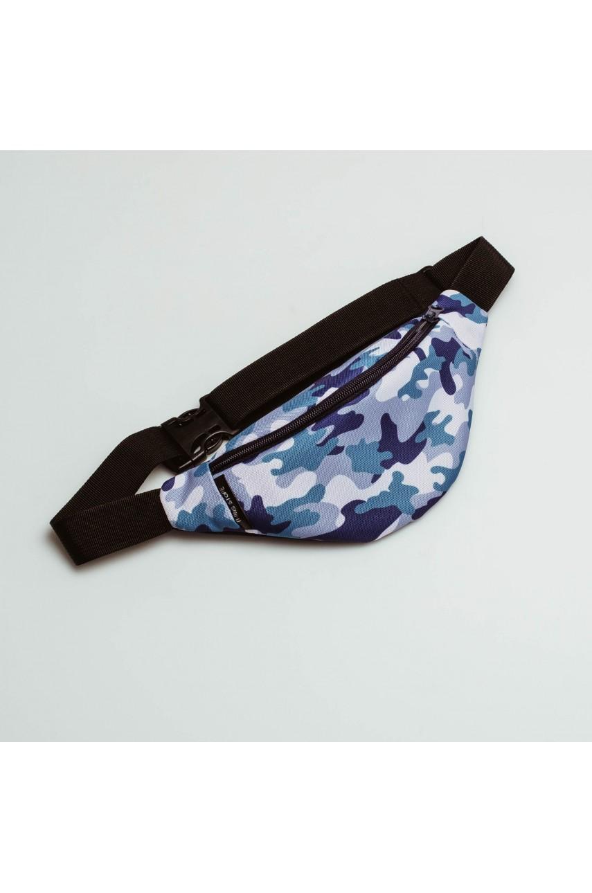Дитяча сумка на пояс (бананка) Twins Store - синя камуфляжна